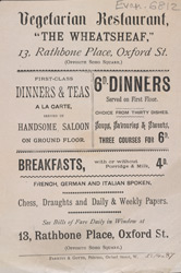 Advert for the Wheatsheaf Vegetarian Restaurant 6812